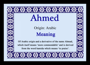 AHMED NAME MEANING PIC